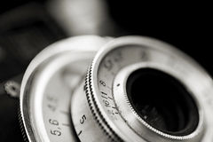 Closeup of old camera lens Stock Images