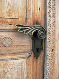 Closeup of an old carved wooden door Royalty Free Stock Photos