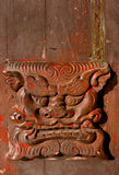 Closeup of old Chinese door handle. Old Chinese lion head door handle in temple, Yunnan Stock Photography