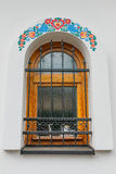 Closeup of old colourful windows with ornaments Royalty Free Stock Image