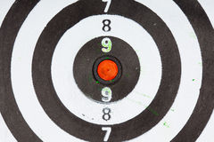Closeup of old dirty black and white target as sport background Stock Photography