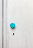 Closeup of an old door wardrobe. Knob and key hole. Empty space for text Stock Image