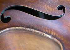 Closeup of old double bass with f hole. In resonance box Stock Photos