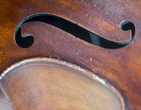 Closeup of old double bass with f hole. In resonance box Stock Photography