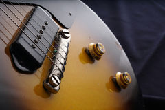 Closeup of old electric guitar. Detail, selective focus. Stock Images
