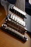 Closeup of old electric guitar. Detail, selective focus. Stock Photography