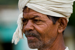 Closeup of an old farmer's face. An old farmer in India Royalty Free Stock Photo