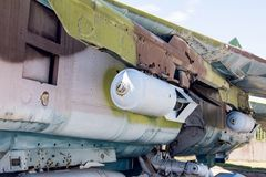 Closeup Of Old Fighter Military Jet Aircraft Loaded Royalty Free Stock Photography