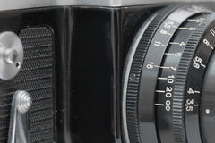 Closeup of old film camera lens Royalty Free Stock Image