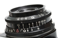 Closeup of old film camera lens. Stock Images