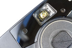 Closeup of an old film plastic camera front view Royalty Free Stock Photo