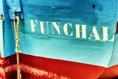 Closeup of old fishing boat in Funchal, Madeira Royalty Free Stock Photo