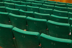 Closeup of old green seats Royalty Free Stock Images