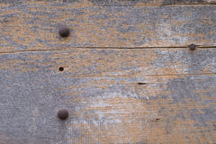 Closeup of old grunge wood with rusty screw background Stock Photography