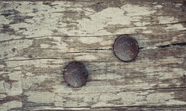 Closeup of old grunge wood with rusty screw background Royalty Free Stock Images