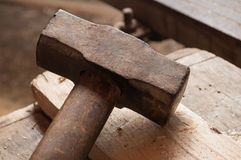 Closeup of an old hammer Stock Photos