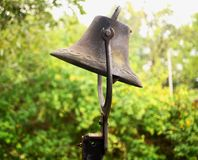 A closeup of an old dinner bell. royalty free stock photo