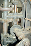 Closeup of old iron mechanism with rusty chain and Stock Photos