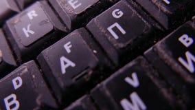 Closeup of old laptop keyboard. 4K UHD