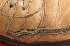 Closeup of old leather boot. Royalty Free Stock Photography