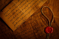 Closeup of old letters with wax seal Stock Photography