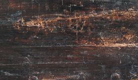 Closeup of old natural wood grunge texture. Dark surface with ol. D natural wooden pattern. Rustic table top view with copy space for text Stock Image