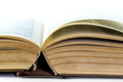 Closeup of old open book Stock Photo