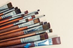 Closeup old paint brushes. Royalty Free Stock Images