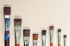 Closeup old paint brushes. Royalty Free Stock Photos