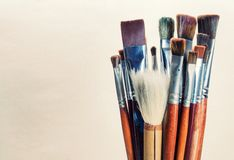 Closeup old paint brushes. Royalty Free Stock Photography