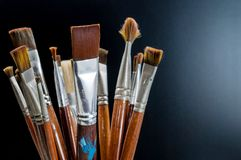 Closeup old paint brushes. Royalty Free Stock Image