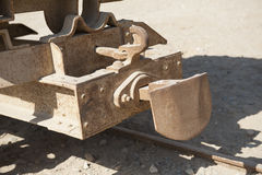 Closeup of old railway carriage coupling Stock Photography