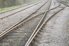 Closeup of Old Railway Line Stock Image