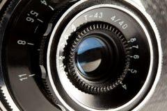 Closeup of old retro camera Stock Images