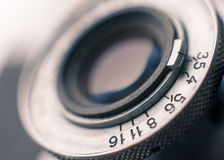 Closeup of old retro film camera Royalty Free Stock Image