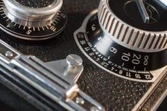 Closeup of old retro film camera Stock Images