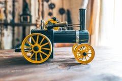 Closeup old retro metal scale model of steam train Stock Photo