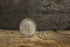 Closeup of old russian coin on a wooden background. Royalty Free Stock Photos