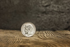 Closeup of old russian coin on a wooden background. Stock Images