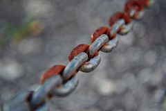Closeup of old rusty chain Royalty Free Stock Photo