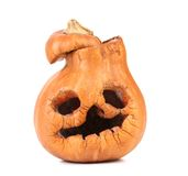 Closeup of old scary pumpkin jack. Royalty Free Stock Image