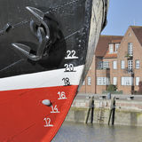 Closeup of old ship's waterline markings Royalty Free Stock Photography