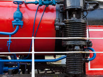 Closeup of the old steam locomotive`s boiler and smokebox Royalty Free Stock Photo