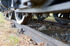 Closeup of old steam train on rails Stock Images