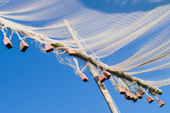 Closeup on old style fishing net Royalty Free Stock Photo