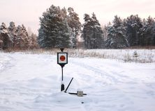 Closeup of old-style railway traffic lights. Wide shot of old-style railway traffic lights on the narrow-gauge railway. Shooted in Russia, Pereslavl-Zalesskyi Stock Photography
