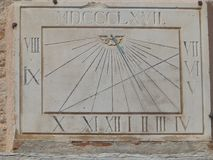 Sundial shows 14.30 solar time Stock Images