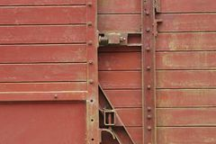 Closeup of old train wagon. A closeup of an old train wagon. This train wagon is not being used anymore royalty free stock photography