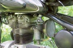 Closeup old vintage motorcycle engine Stock Photos