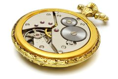 Closeup of old vintage pocket gold watch  Stock Images